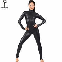 Spandex Full Lycra Zentai Bodysuit Turtleneck Long Sleeve Metallic Unitard Gymnastics Black Adult Shiny Catsuit Dance Wet Look