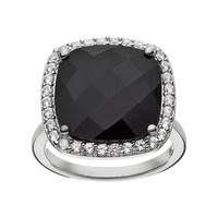 Onyx & Lab-Created White Sapphire Sterling Silver Square Halo Ring (Black)