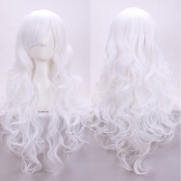 ! Womens Fashion Lady Long Curly Wavy Hair White Cosplay Full Wig Party Wigs Alternative Measures