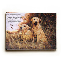 Yellow Labs by Artist Robert May Wood Sign