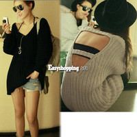 Women's Backless From/Back V-Neck Design Mid-Length Knitting Sweater Coat ES9P