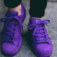 Adidas Shell-toe Sneakers Sport Shoes Pure Color Flats Purple