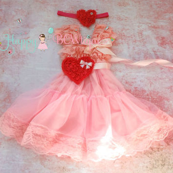 Valentine dress, Sweetheart Pink Hearts Chiffon Lace Dress,Pink Dress,baby dress, Birthday outfit, Babydoll dress, Valentines, girls dress