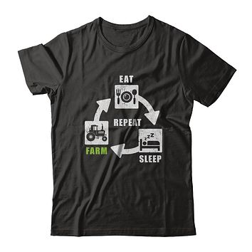 Eat Sleep Farm Repeat Farmer Farming Tractor