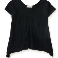 Aeropostale  Solid Lace V-Neck Swing Tee - Black, X-Small
