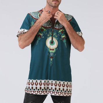 Loose African Hiphop Blouse Ethnic Tribal Boho Men T Shirt Vintage Unisex Tribal Mexican Top Bazin With Zipper Traditional Male