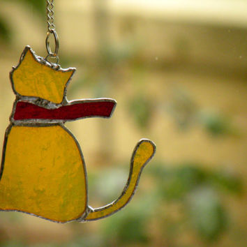Yellow Cat with Red Scarf Stained Glass Garden Sun Catcher - Ornament, Window Decorations