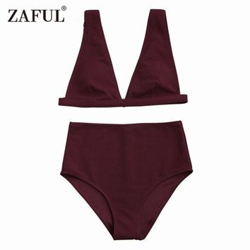 New Women High Waisted Textured Plunge Bikini Set Deep V Sexy Pure Color Wirefree Solid Padded Summer suits Bikini