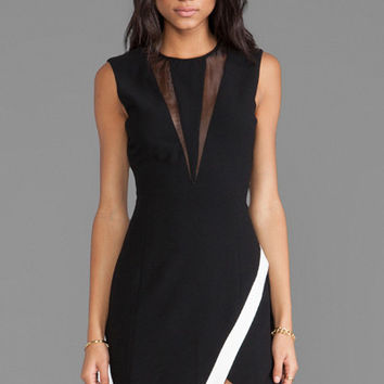 Black Wrap Skirt Sleeveless Mini Dress with Mesh Detail
