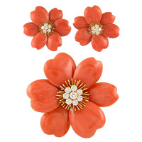 VAN CLEEF & ARPELS Rose de Noel Orange Coral Brooch and Earrings