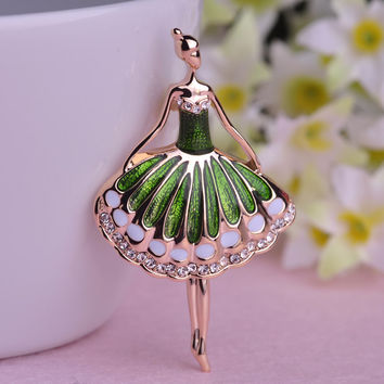 Beautiful Ballet Girl Brooch Green Pink Enamel Dresses Girls Brooches For Bag Ladies Joias Ouro 18K Gold Small Party Corsages