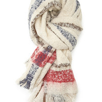FOREVER 21 Fuzzy Knit Striped Scarf Oatmeal/Red One