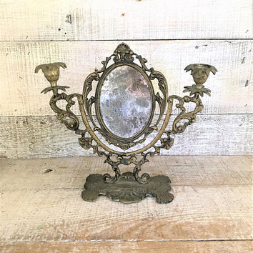 Brass Candlesticks with Mirror Brass Candlestick Holders Ornate Brass Frame Antique Brass Candlesticks and Mirror Brass Wedding Decor