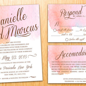Personalized DIY Printable Wedding Invitation Suite Watercolor Minimalist Classic Simple Modern Wedding Set Customize Wedding Invite Set