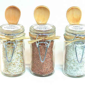 Flavored Sea Salt Set- Gourmet Sea Salt Blend in Mini Snap Top Jar with Wood Spoon, Seasoning, Spice, Foodie Favor
