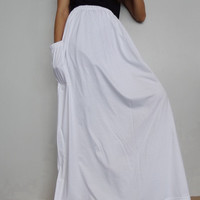 Women Maxi Long Skirt , Casual Gypsy, Bohemian , Cotton Blend In White (Skirt *M9).