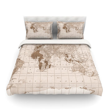 "Catherine Holcombe ""Emerald World"" Vintage Map Featherweight Duvet Cover"