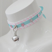 Dreamy meadow - fairy kei kawaii cute neko lolita ddlg kitten pet play collar with bell and sheep pendant - pastel pink and blue