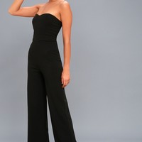 Edith Black Strapless Jumpsuit