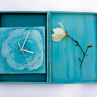 OOAK Turquoise, blue unique wall clock AND/OR matching box hand painted with modern, richly textured art design, office or home decor