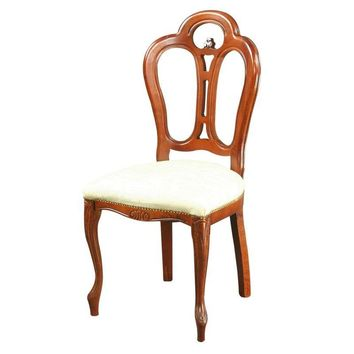 Pre-owned Large New Italian Rococo Dining Chair Mahogany
