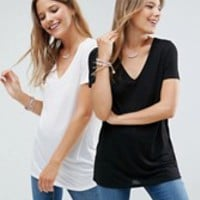 ASOS Lightweight T-Shirt With V Neck 2 Pack Save 10% at asos.com