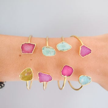 Druzy and Turquoise Cuff: Snapdragon