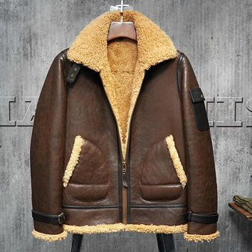Men's Shearling Jacket Original Flying B3 Jacket Men's Fur Coat Aviation Leathercraft Turmeri Pilots Coat Dark Brown Brown WZS00
