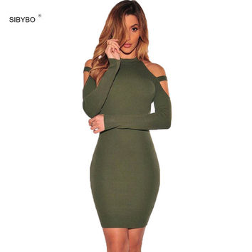 Autumn Winter Sexy Club Dress 2016 Women Off Shoulder Long Sleeve Cotton Elastic Midi Bodycon Bandage Party Dresses  Vestidos