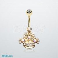 Royal Majesty Crown Belly Button Ring