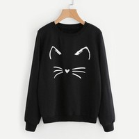 Kitty - Women Long Sleeve Hoodie Pullover Sweatshirt Sweater Casual Hooded Autumn Tops