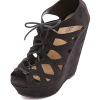 Sueded Lace-Up Ghillie Wedge by Charlotte Russe - Black
