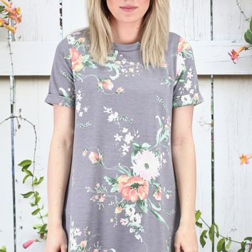 Garden Florals Short Sleeve Tunic Tee {Grey}