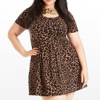 Plus Size Cat On A Hot Tin Runway Animal Print Dress | Fashion To Figure