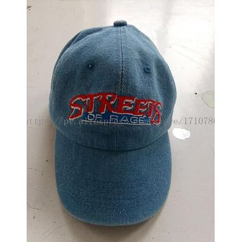 Denim Distressed Streets Of Rage Sega Nintendo Dad Cap Hat (BY ANY MEANS NECESSARY) Vtg Retro