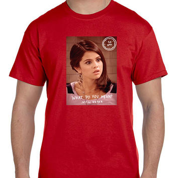 Selena Gomez What Do You Mean Justin Beiber Mens T Shirt