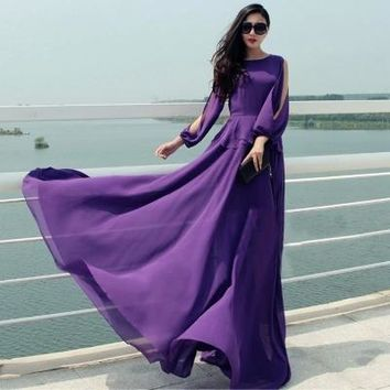 WBCTW Vintage Dress 6XL 7XL Plus Size Off The Shoulder Women Dress Summer High Waist Cascading Ruffle  Maxi Chiffon Beach Dress