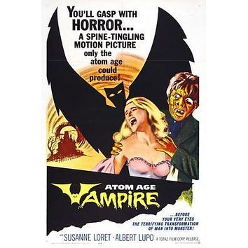 Atom Age Vampire Movie poster Metal Sign Wall Art 8in x 12in