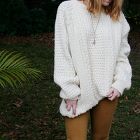 Vintage Cladyknit Cream 100% Wool Sweater