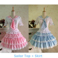 {Set}Lolita Sailor Collar School Unifrom TUTU Top and Skirt Suit Free Ship SP141014 from SpreePicky