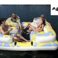 INTEX Oasis Island Inflatable Floating Water Lounge Raft w/ Air Pump | 58299Q