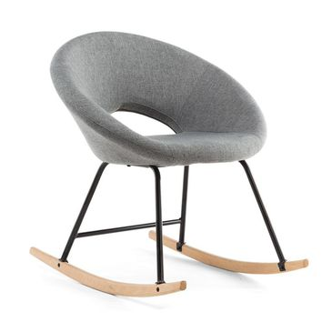 Modern Scandinavian Rocking Chair Natural Wood And Fabric Uphols