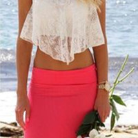 Spagheti Strap Lace Cami Crop Top