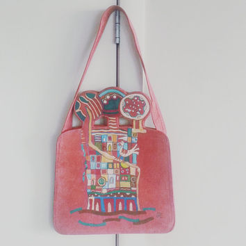 Vintage Purse- Art Purse- Painted Purse- Suede Purse- Bohemian Purse- Boho Chic Purse- Hippie Style- Gypsy Style- Vintage Fashions- Gift