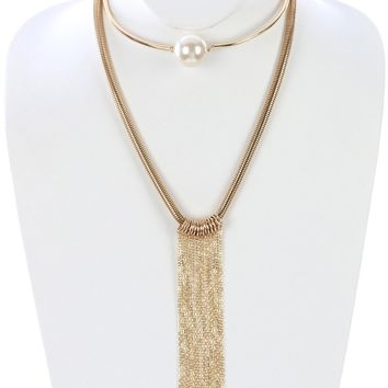 Cream Long Chain Fringe Double Layer Choker Necklace