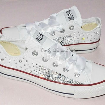 """Adult """"Bling"""" converse in your choice of color & ribbon shoelace to match. Super cute for bridesmaids, brides, or just because"""