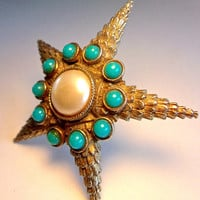 Starfish or Star Unsigned DeNicola Brooch, Domed, Faux Turquoise Pearl, Vintage