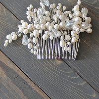 Only You Bridal Comb in Silver/White