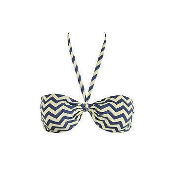 Reversible Multi-Way Bandeau Bikini Top - Yellow & Gray Chevron Print