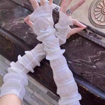 Women UV Protection Lengthen Arm Sleeves Outdoor Driving Sunscreen Long Gloves Cuff